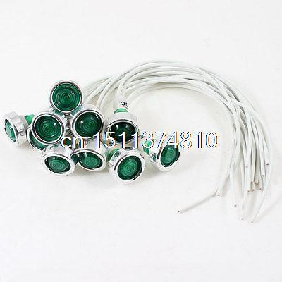 10 Pcs White Cable Blub Type Green Indicator Pilot Light Lamp DC 12V