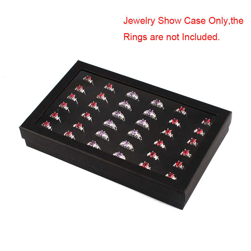 36 Slots Ring Storage Box Jewelry Organizer Holder Show Case Container Velvet Ring Storage Box Jewelry Organizer Holder #57900