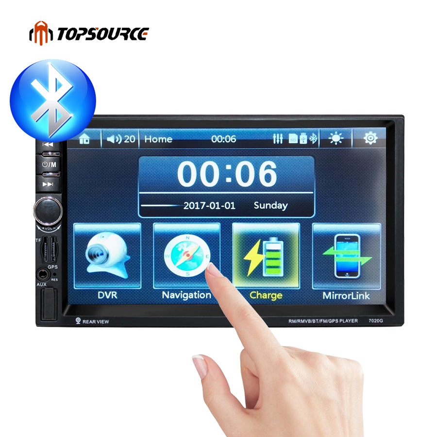 TOPSOURCE 7020G 2 Din 1080P Univeral Car DVD Video Multimedia Player 7'' HD GPS Navigation MP4/MP5 Audio Stereo Radio Bluetooth