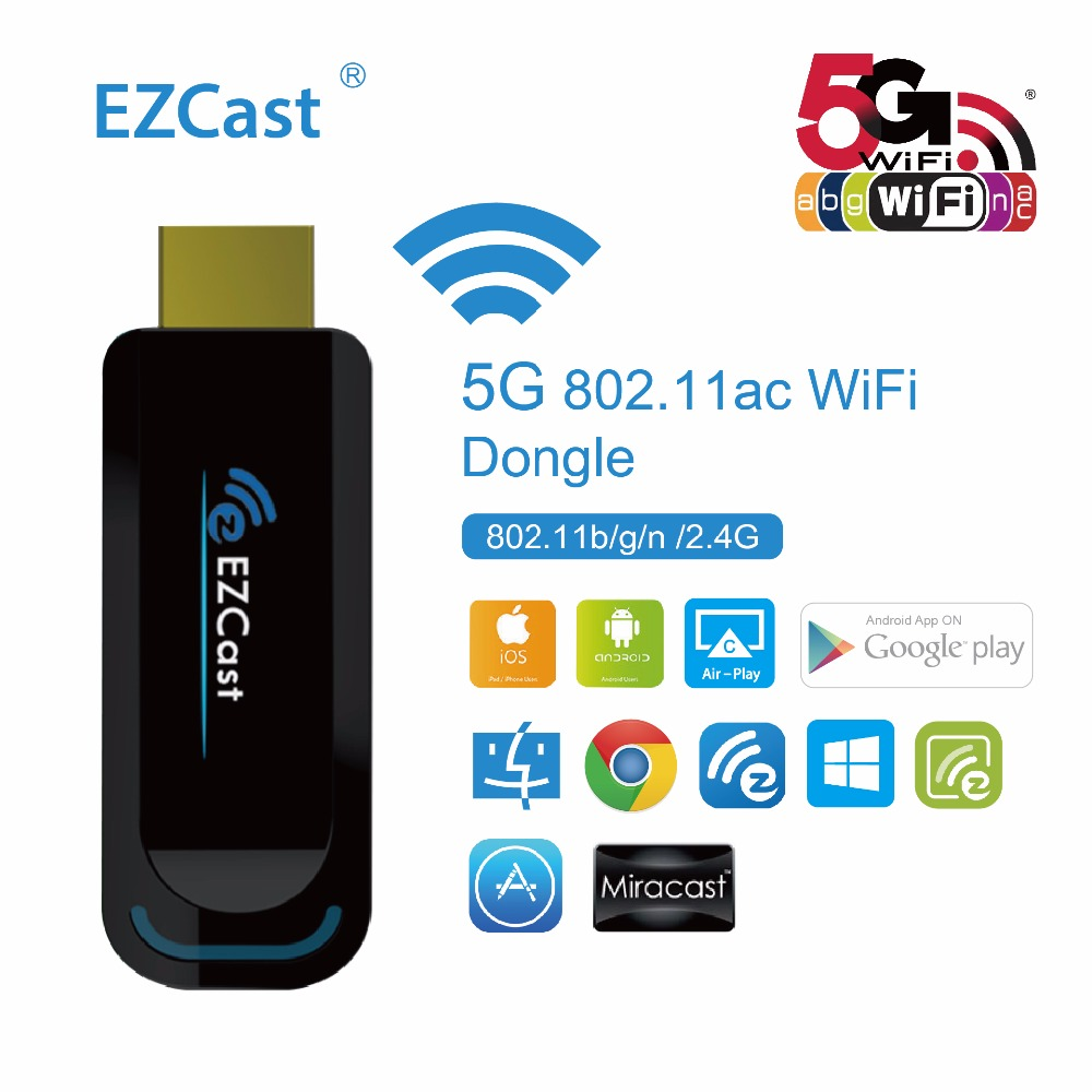 Hot Sale Ezcast 5g 24g Wireless Dongle Hdmi Tv Stick Support Anycast Wifi Display Receiver Hd Mirroring Windows Ios Android Miracast Dlna Airplay 1080p Media Player