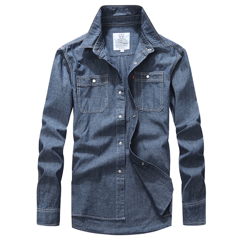 Fashion Mens Shirt Autumn Men's Denim Shirts Leisure Long Sleeve Shirt Cowboy Shellort Men Clothing Cotton Tops Plus Size XXXL