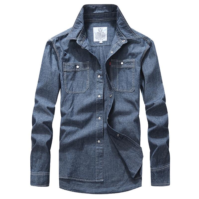 Fashion Mens Shirt Autumn Men's Denim Shirts Leisure Long Sleeve Shirt Cowboy Shellort Men Clothing Cotton Tops Plus Size XXXL