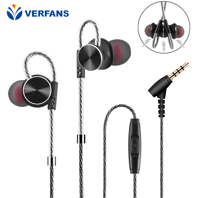 VERFANS W3 In-Ear Earphone Super Bass Sound Microphone 3.5 mm stereo earbud magnetically attached noise isolation headset