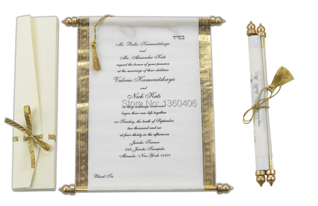 scroll wedding invitations card wholesale party wedding gold white silk luxury royal wedding invitations with box