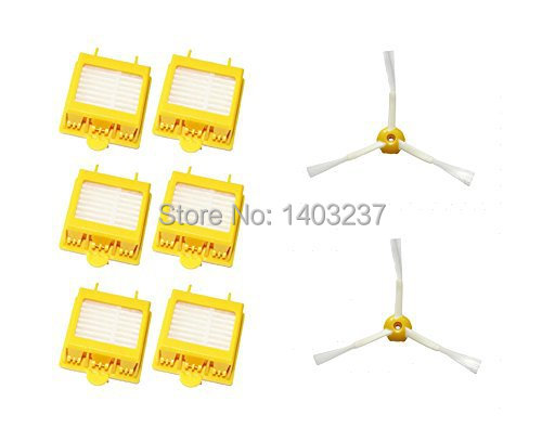 6pcs Hepa Filters + 2pcs Side Brushes 3-Armed for iRobot Roomba 700 Series 760 770 780 Vacuum Cleaning Robotic Spare Parts
