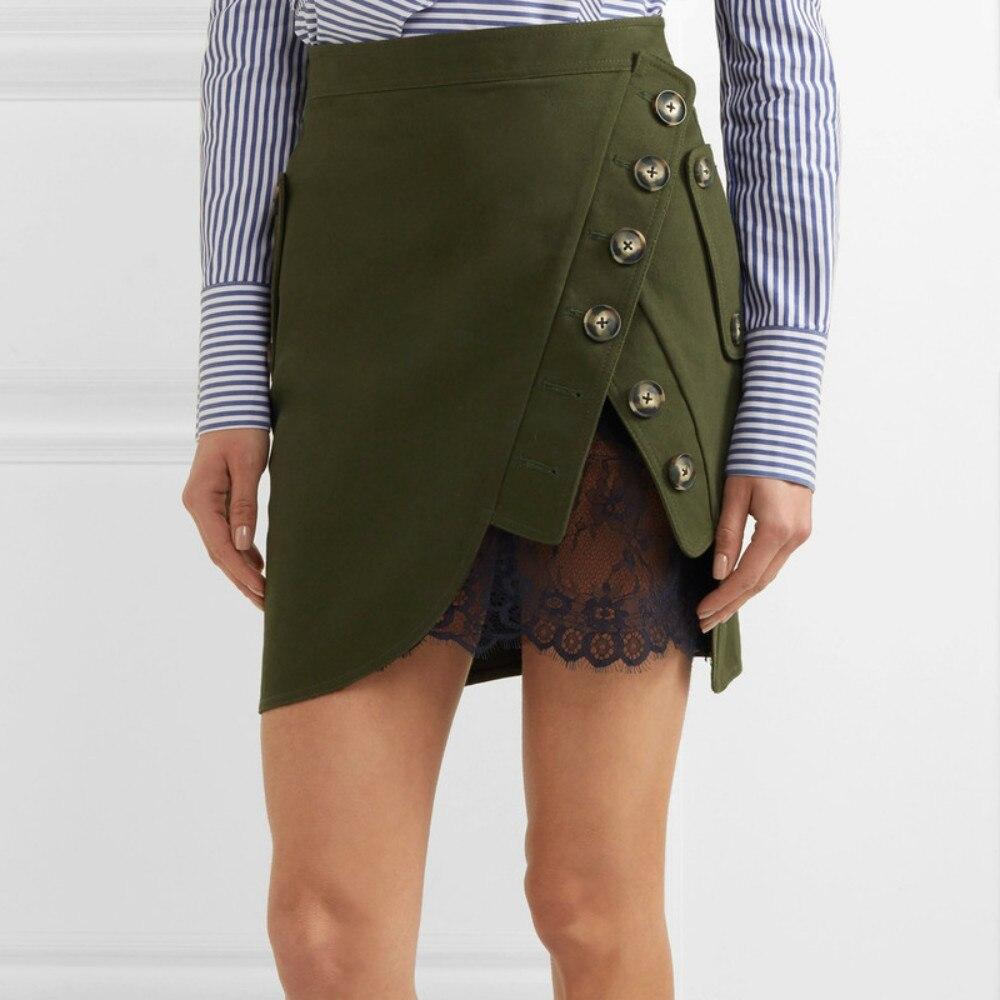 Runway Mini Self Portrait Skirts Women's Cotton Slim Lace Patchwork Buttons 2018 Summer Female Casual Femme Skirt