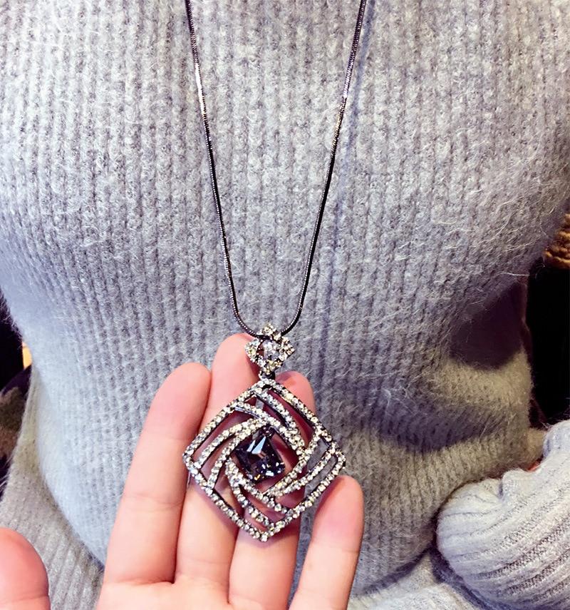 Vintage Geometrisk Krystal Lang Halskæde Kvinder Bijoux Mode Søde - Mode smykker - Foto 5
