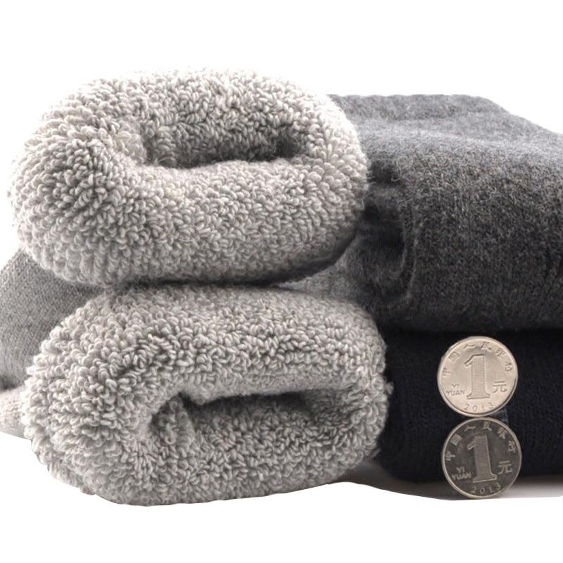 3 Pairs Men's Winter Socks Canada 30 Degrees Below Zero Resist Cold Wool Socks For Men Thicken Pile Socks Solid Color Warm Meias