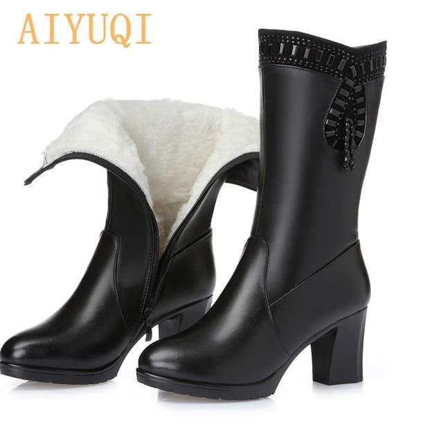 AIYUQI 2020 ladies boots for winter genuine leather women boots warm wool rhinestone fashion high heel tassel boots women