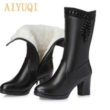 Aiyuqi 2020 Dames Laarzen Voor Winter Echt Leer Vrouwen Laarzen Warme Wol Strass Mode Hoge Hak Kwastje Laarzen Vrouwen