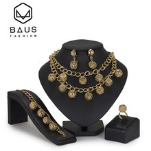BAUS Fashion african beads jewelry set Costume Brand dubai gold jewelry sets for women Nigerian Wedding Jewelry set Accessories(China)