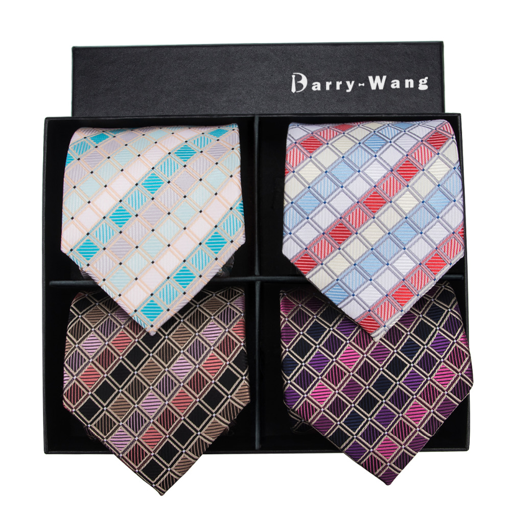 Barry.Wang 4P 4 Men Suit Tie New Luxury Colorful Geometric Cravatte Cotton Silk Polyester Mens Neckties With Box Drop Shipping
