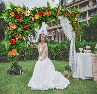 Романтический пионовидные розы с зеленая трава свадебный цветок стены искусственный шелк цветок фон цветок арки Свадебные украшения