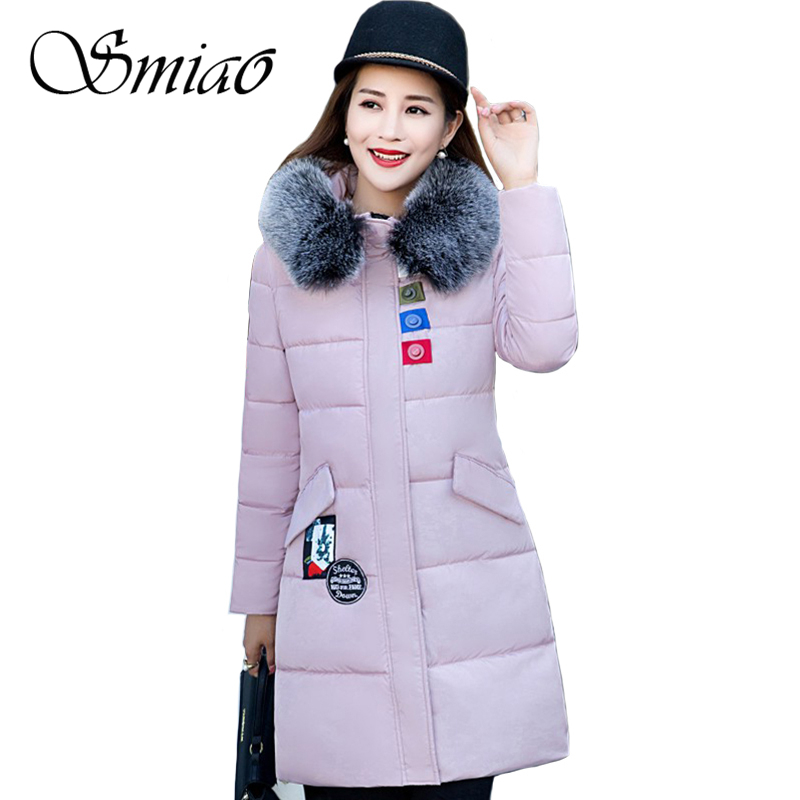 Smiao 2017 Colorful Buttons Winter Women Jacket Fur Collar Long Coat Female Hooded Thick Warm Slim Woman Park Outerwear M-2XL smiao 2017 winter women cotton parkas hooded fur collar thick warm pu leather jacket overcoat long coat female outerwear 5xl