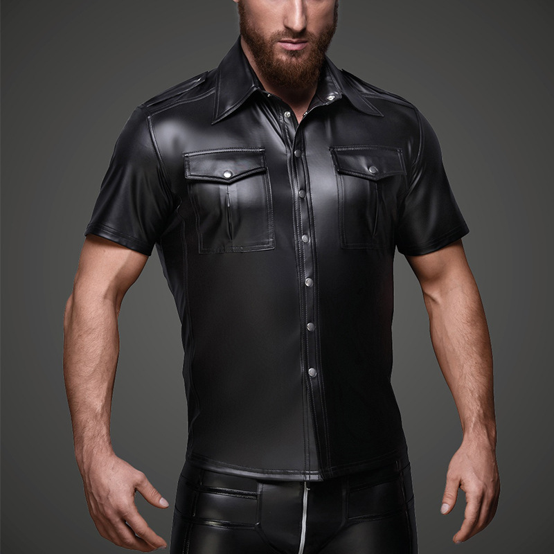 Sexy Gay Mens Punk PU Leather T Shirts Top Short Sleeves Turn-Down Collar Patent Leather T-shirt Male DS Night Clubwear Clothing