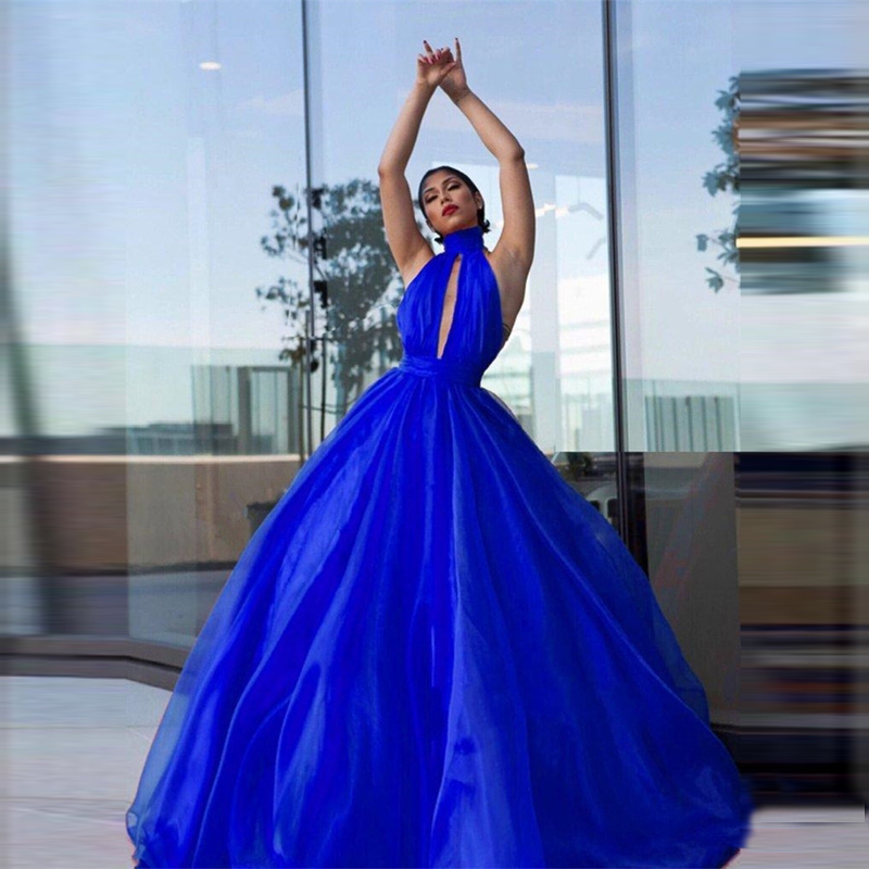 Royal Blue Tulle Prom Gowns High Neck Backless Floor Length Formal Party Dress Sexy A Line