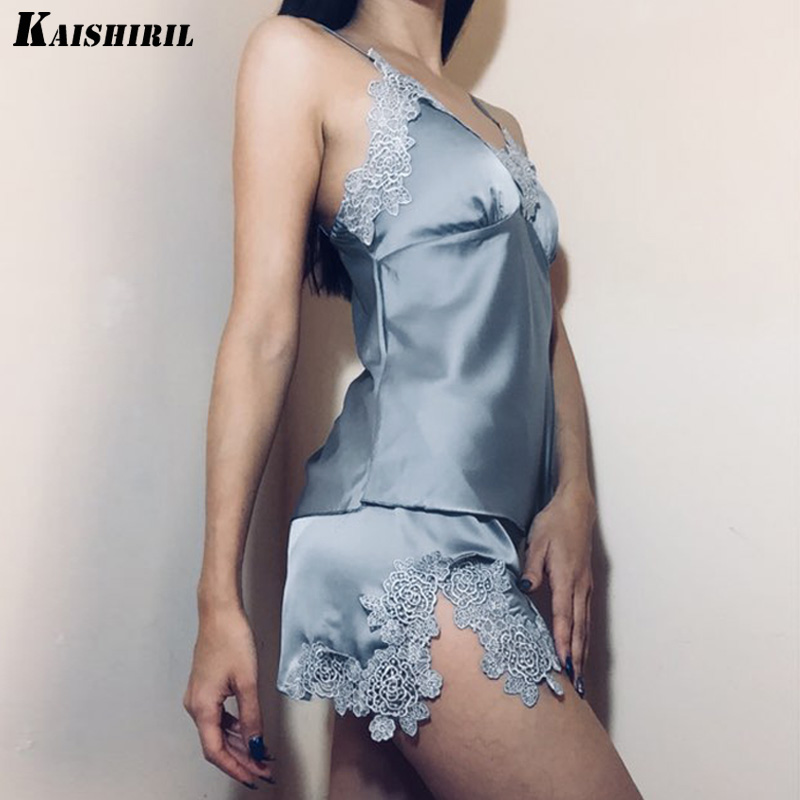 Summer Sexy Lace Satin   Pajama     Sets   for Women Silk Sleepwear Two Pieces Top Shorts Pink   Pajamas   Lingerie Nightwear Women Pyjamas