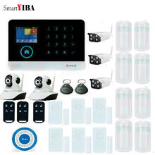 SmartYIBA APP Control GSM Home Security Alarm System Outdoor/Indoor Camera Door Gap PIR Motion Sensor WIFI SMS GPRS Alarm Kits