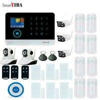 Smartyiba приложение Управление gsm дома Охранной Сигнализации Системы Открытый/Indoor Камера двери Gap движения PIR Сенсор WI FI SMS GPRS Сигнализация набо