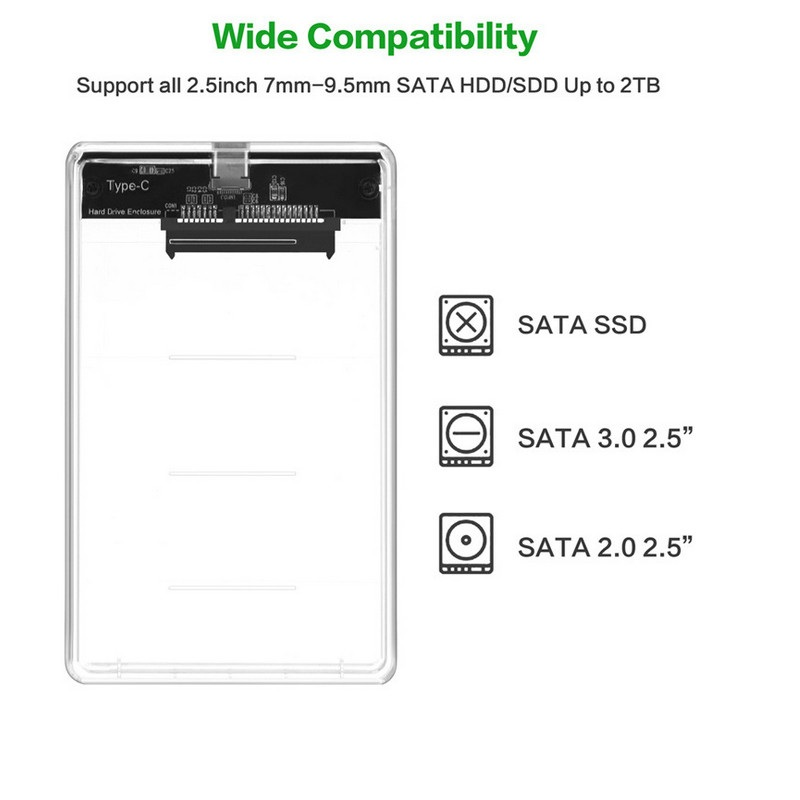 Image 5 - transparent USB 3.1 UASP Type C to Sata 3.0 HDD Case 2.5 inch Hard Drive Enclosure USB C to SATA 3.0 hard drive shell-in HDD Enclosure from Computer & Office