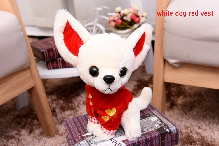 Cute Small Vest Chihuahua Dog Plush Toy About 18CM Children Birthday Christmas Present 1pcs Four Colors