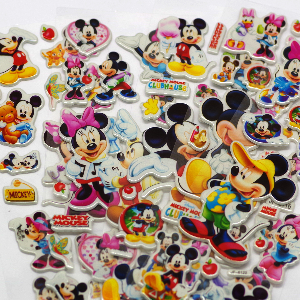 1bag  Lovely Mouse Sticker Dimensional 3D Cartoon PVC Bubble Stickers Girls/boys Birthday Cute Gift Children Toys Random