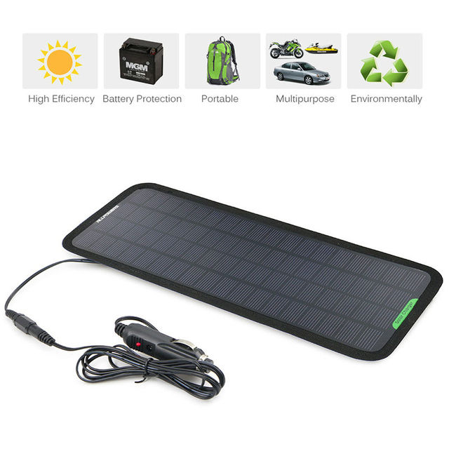 12V Portable Solar Car Battery Charger 5W Solar Powered Car Battery Maintainer for Boat Car Vehicle Motorbike Yacht 12V Battery.