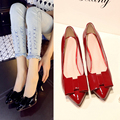 2015Classic Sexy Pointed Low Med Kitten Heels Women Genuine LeatherPumps Shoes Spring Brand Design Wedding Shoes Pumps Bow pumps
