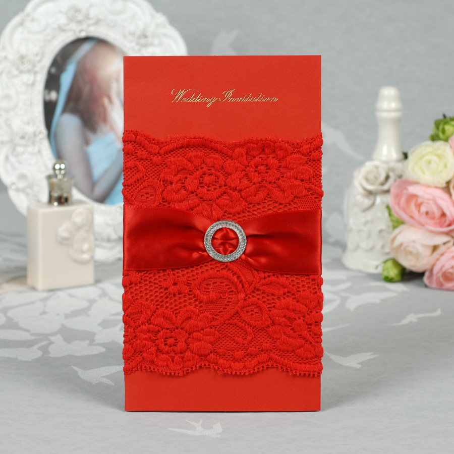 Red Color Lace flower Wedding Invitation Card with nice ribbon-in Cards & Invitations from Home & Garden on Aliexpress.com | Alibaba Group