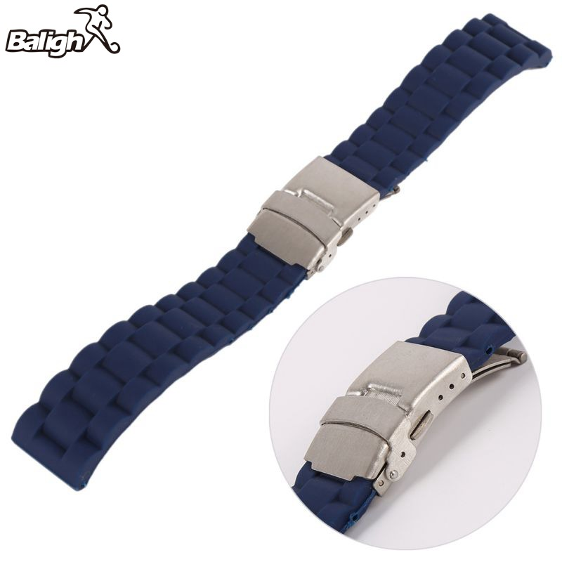 Newest Fashion Men Silicone Rubber Wrist Watch Strap Band Waterproof With Deployment Clasp Red Orange Blue Coffee