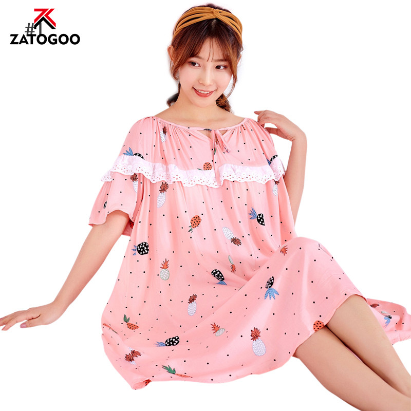 Large Plus Size Pregnant Woman Sleep Dress Haft Sleeve Floral Nightgown Fat Loose Homewear O Neck Lady Nightdress Colorful Pink