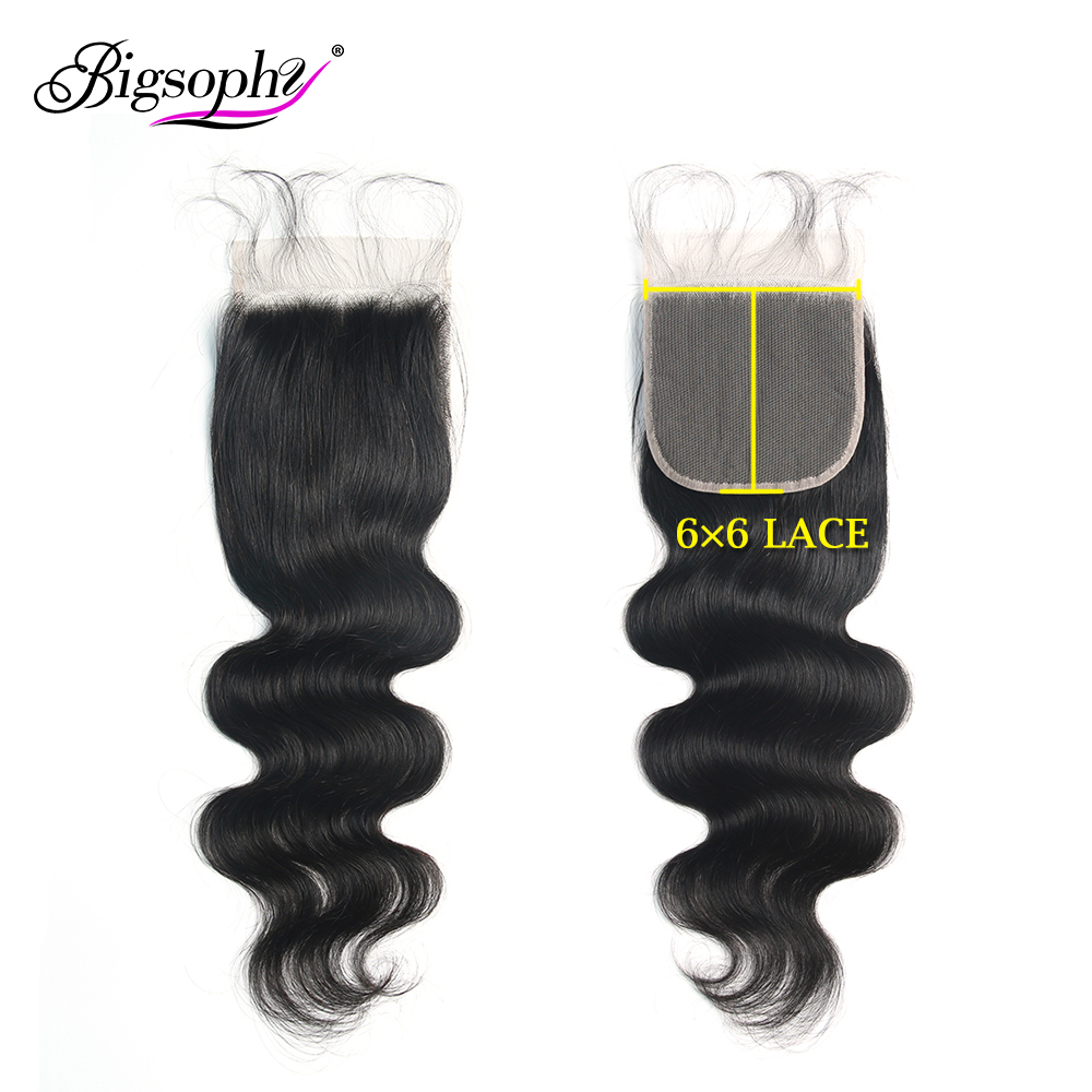 Malaysian Hair 6x6 Lace Closure Body Wave Swiss Lace Closure 100% Human Remy Hair Closure With Baby Hair Natural Color Bigsophy(China)