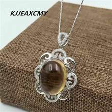 KJJEAXCMY boutique jewelry,Ladies natural Topaz Pendant pendant jewelry wholesale S925 Sterling Silver [silver] deer king gawu box pendant shurangama mantra s925 sterling silver wholesale silver style text