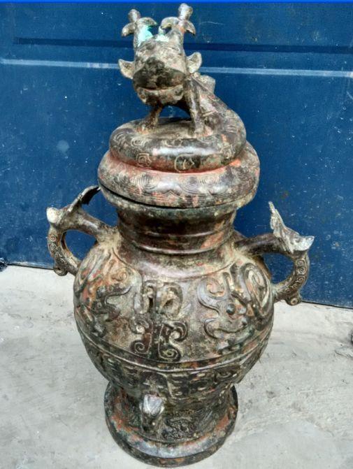 Коллекция древних Китайских буддийских panlong редкие бронзовая статуя курильница