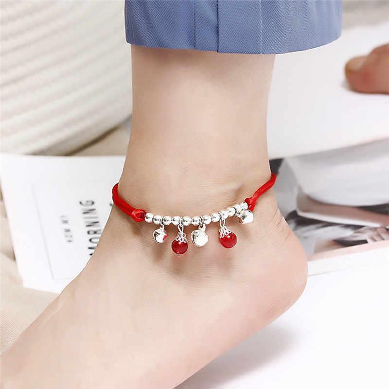 自由奔放に生きる赤糸足首のブレスレットシルバーカラービーズ足ブレスレットチェーン文字列 Halhal アンクレット足に女性のための braclet