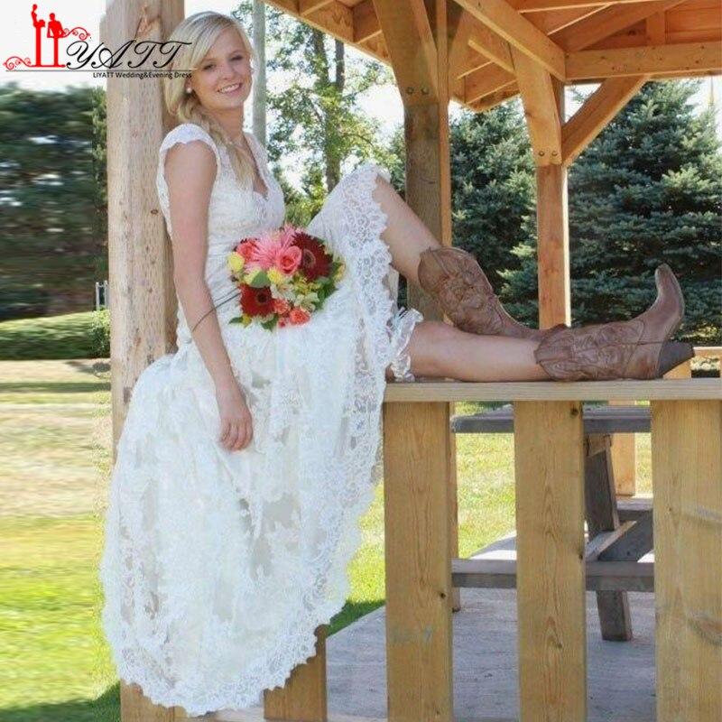 High Low Full Lace Wedding Dresses Vestido 2016 Vintage V Neck Cap