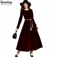 Winter Women Velvet Dress Long Sleeve Maxi Dress Evening Party Vintage Dress Black Blue Wine Red