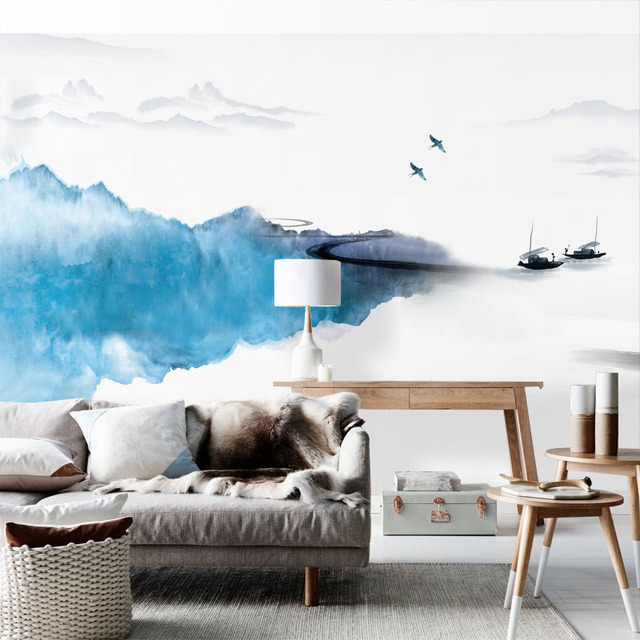 Tuya Art Light Pale Blue Wall Paper Mural On The Chinese Hand Painting For Office Living Room Meeting