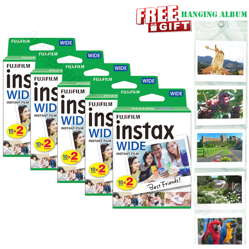 Genuine New Fujifilm Instax Wide Film White 100 Sheets For Instant Photo Paper Camera Instax Wide 200 210 300 with Album Gift фотоаппарат fujifilm 300 instax wide