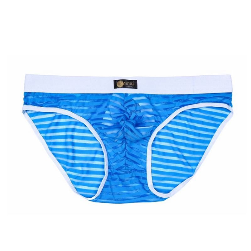 Men Sexy Sheer underwear Mesh Transparent Briefs Inside Rings hombre panties striped Underpants low waist Briefs in Briefs from Underwear Sleepwears
