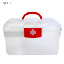 SYTH Large household portable medicine family chest Double Layer Health Box Medicine Chest Handle First Aid Kit Storage