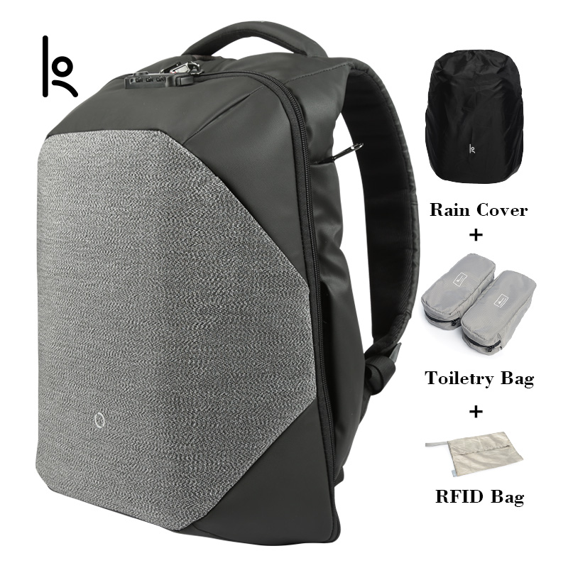 K Click Anti Cut Solid Backpacks Scientific Storage System Bags External USB Charging Laptop Backpack For Man And Women2018new