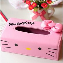 Cute Cartoon Hello Kitty Doraemon Leather Tissue Box KT Cat Napkin Cover(China)