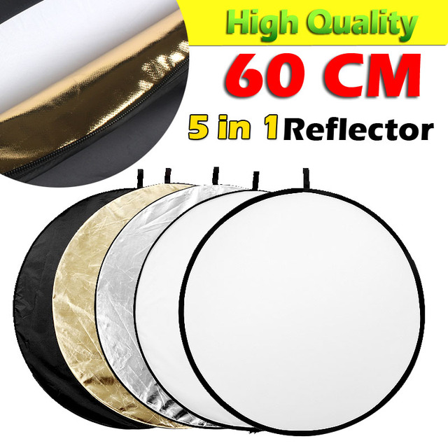 """24"""" 60cm 5 in 1 Portable Collapsible Light Round Photography Reflector for Studio Multi Photo"""