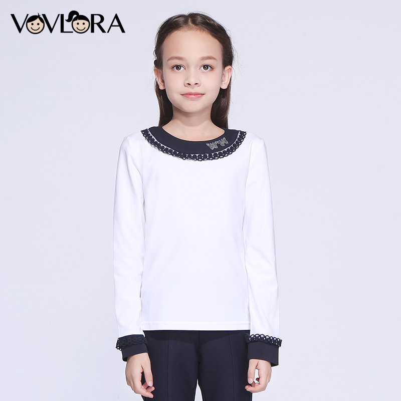 Girls School T shirts Lace Patchwork Cotton Kids T shirts Tops Knitted White O neck Children Clothes 2018 Size 7 8 9 10 11 12 Y