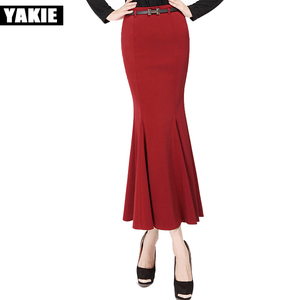 Plus size XS XXXL skirts womens long skirt trumpet mermaid high waist ankle length vintage sexy skirts Red Black bodycon skirt