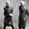 2017 Winter Brand Fashion Harajuku  Warm Mens Gray Coat Jacket Leather Sleeve Gothic Clothing Warm Long Peacoats Men Wool Coat
