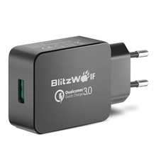 BlitzWolf QC3.0 Certified 18W USB Charger EU Adapter with Power3S Tech For Xiaomi For Samsung Chargers For iPhone