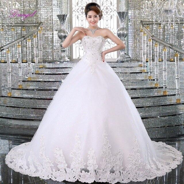 Fmogl Glamour Dentelle Appliques Cour Train Robes de Mariée Princesse 2019  Délicat Perlée Bohème de Mariage