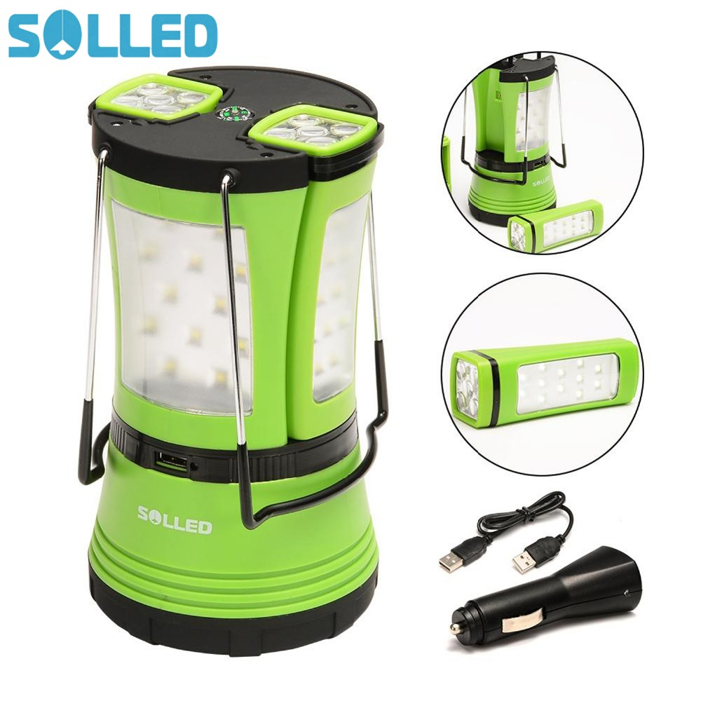 SOLLED 600lm LED Camping Light Lantern Rechargeable Battery Powered 2 Detachable Handy Flashlights Torchs USB Cable